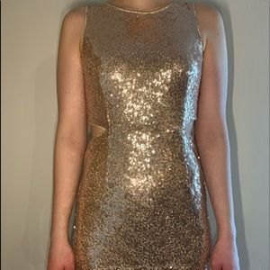 Dry Goods Gold Sequin Dress with cutouts on side